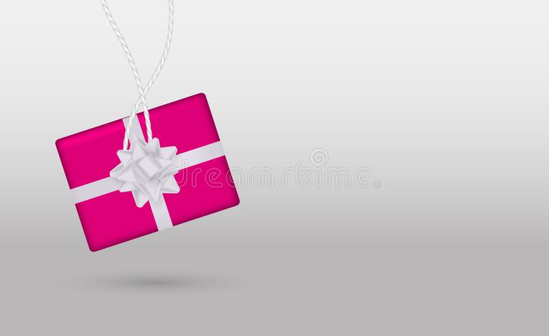 Minimalism style. Pink gift box on a grey background. Vector stock illustration for banner royalty free stock photo