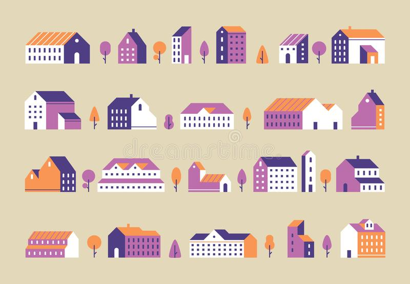 Minimalism town buildings. Geometric minimal residential houses, city building and urban house flat vector set royalty free illustration