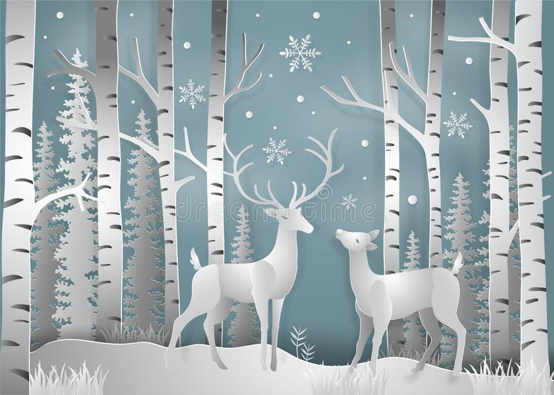 Minimalism of winter season and Christmas day Deer under the vie. W pine forest landscape with snow background. paper art and digital craft style. Vector royalty free illustration