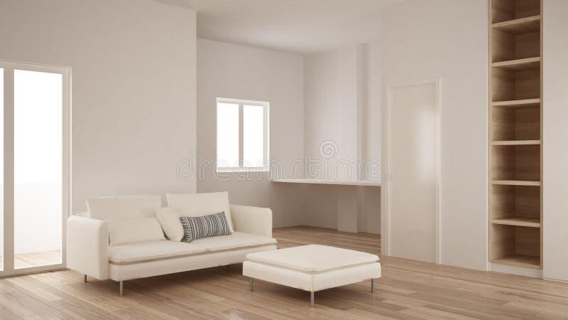 Minimalisme, conception intérieure moderne de salon avec l'étagère vide, de plancher de parquet, blanche et en bois photographie stock