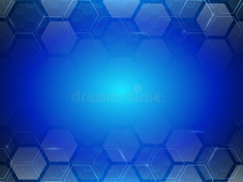 Minimalisme futuriste de Digital Fond abstrait d'hexagone de technologie illustration stock