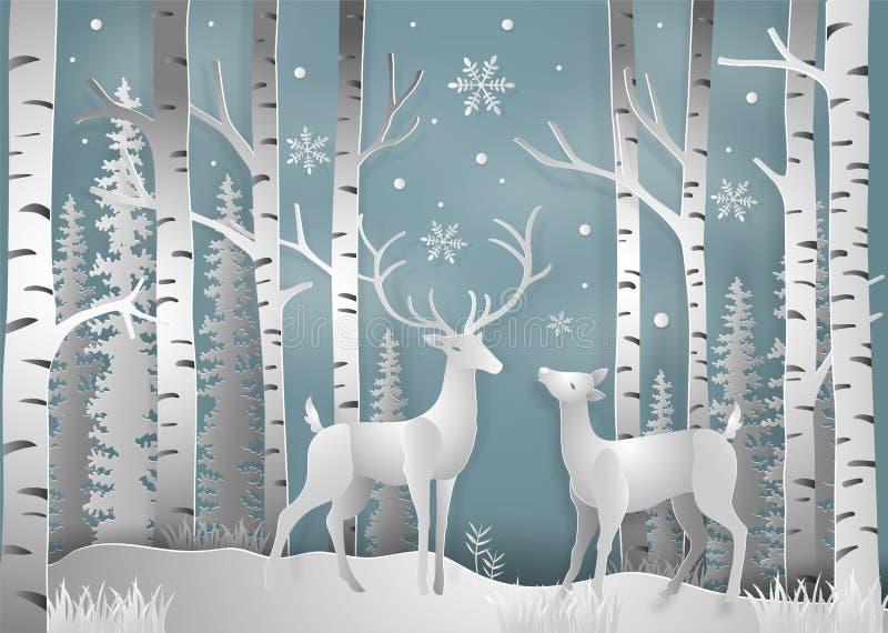 Minimalismo de los ciervos de la estación del invierno y del día de la Navidad bajo competir libre illustration