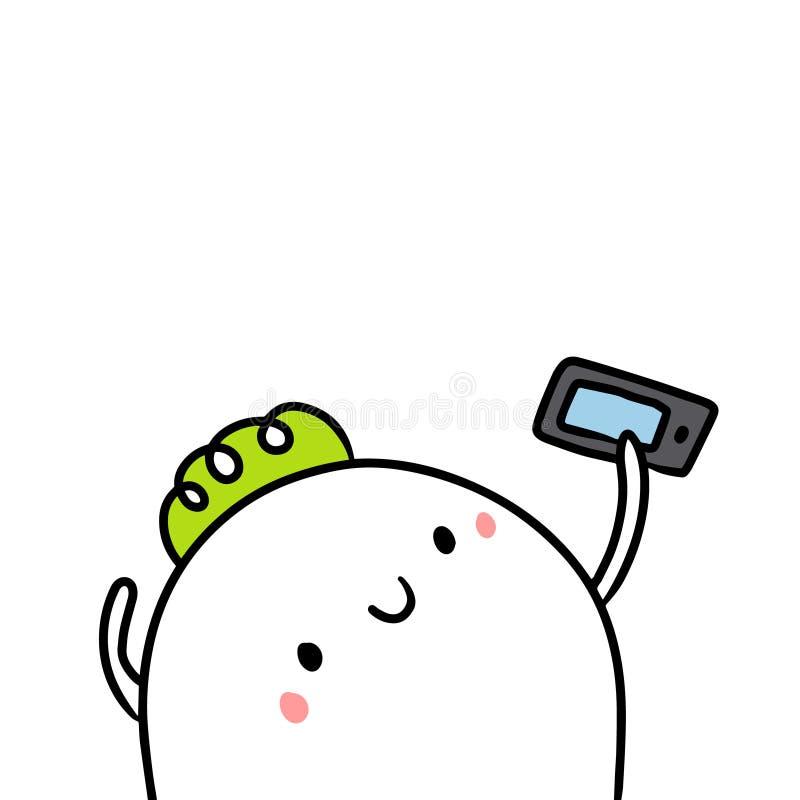 Minimalismo tirado mão bonito dos desenhos animados da ilustração do marshmallow e do smartphone ilustração do vetor