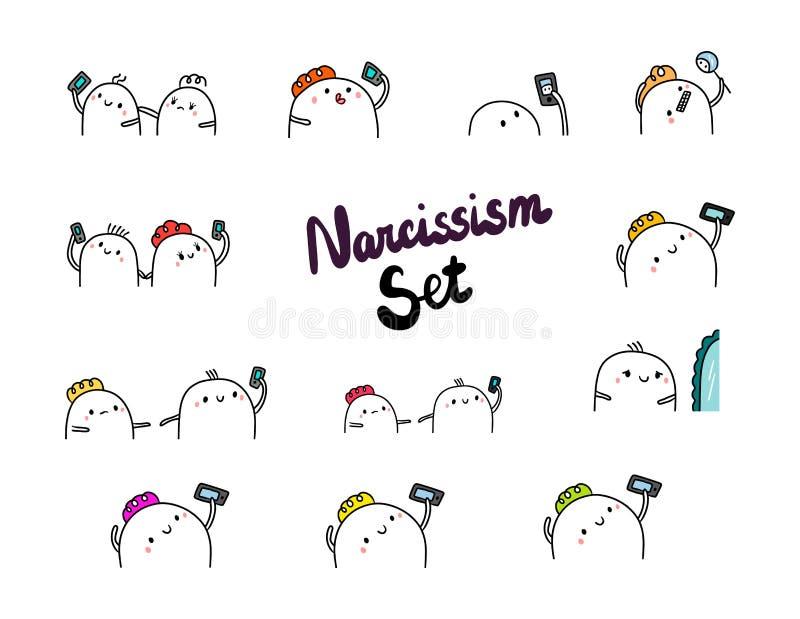Minimalismo tirado mão dos desenhos animados das ilustrações do grupo do narcisismo ilustração stock