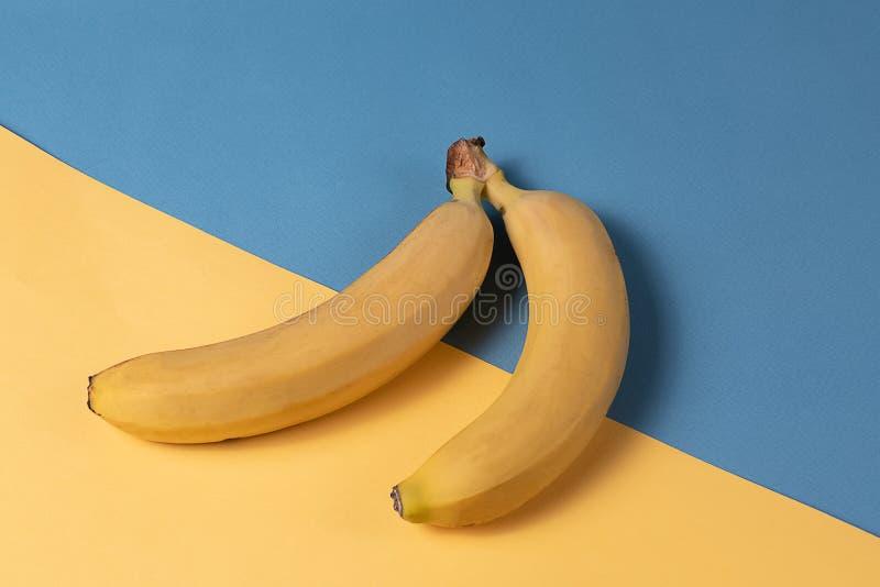 Minimalismstil Fruktmodell med gul mogen bananfrukt över gul och blå bakgrund fotografering för bildbyråer