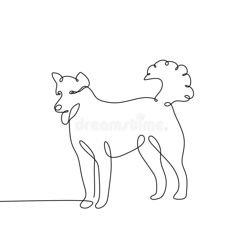 Minimalismusentwurf einzelnen Zeile der Hund einer ununterbrochener zeichnender stock abbildung