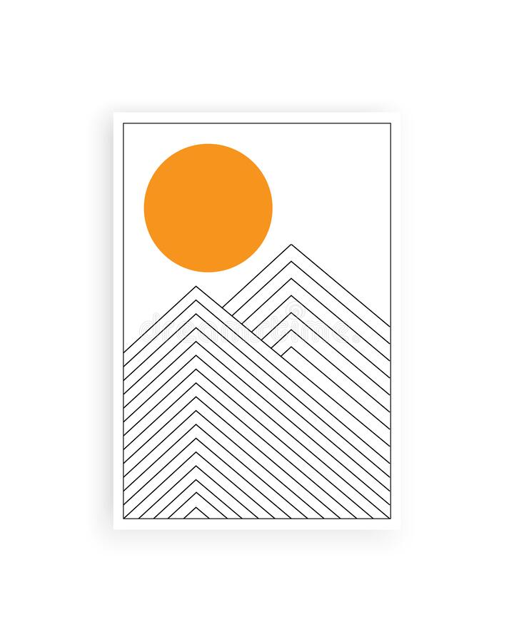 Free Minimalist Abstract Painting With Lines And Circle, Vector. Stock Photos - 183569773