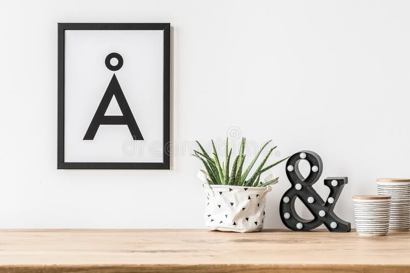 Minimalist poster and led light stock photos