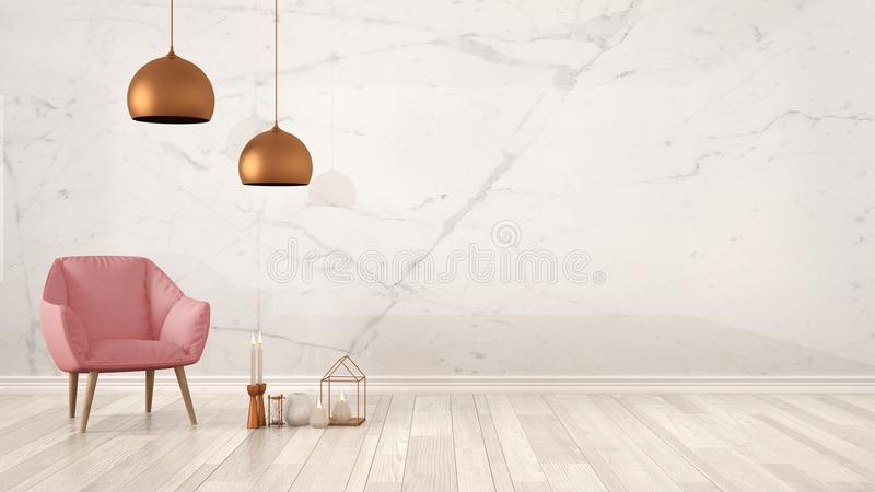 Minimalist architect designer concept background with marble wall, pink armchair, candles and decor on parquet flooring, living ro. Om interior design with copy royalty free stock images
