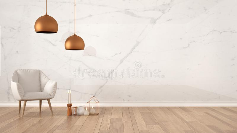 Minimalist architect designer concept background with marble wall, white armchair, candles and decor on parquet flooring, living r. Oom interior design with copy stock image