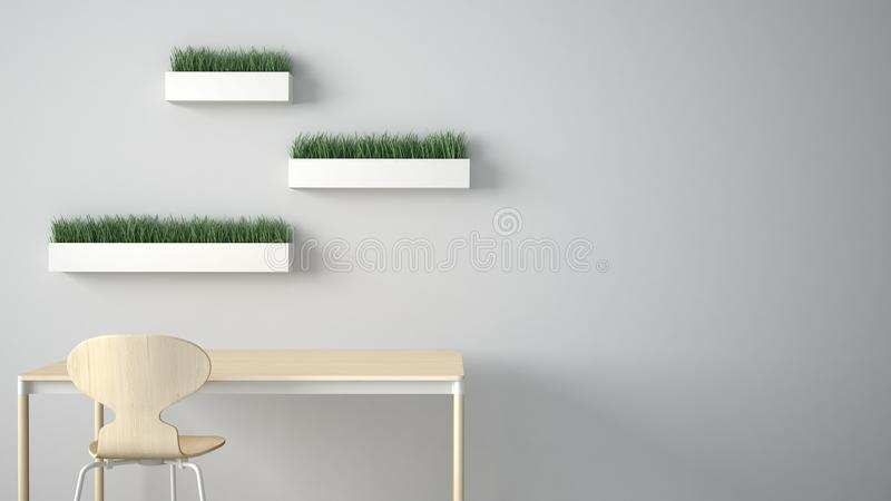 Minimalist architect designer concept, table desk and chair, kitchen or office with shelves with grass vases on white background,. Interior design idea with royalty free illustration