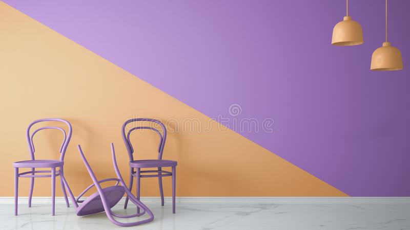 Minimalist architect designer concept with three classic colored chairs, one chair turned violet on orange and violet background a. Nd marble floor, living room stock illustration