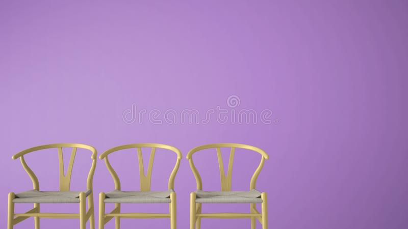 Minimalist architect designer concept with three classic orange pastel chairs on violet monochrome background, living room interio. R design with copy space vector illustration