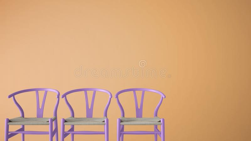 Minimalist architect designer concept with three classic violet pastel chairs on orange monochrome background, living room interio. R design with copy space stock illustration