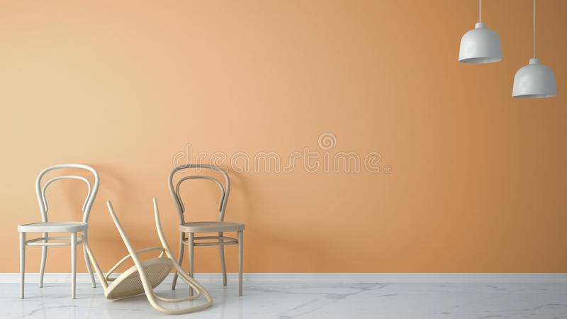 Minimalist architect designer concept with three classic wooden chairs, one chair turned over on orange background and marble floo. R, living room interior vector illustration