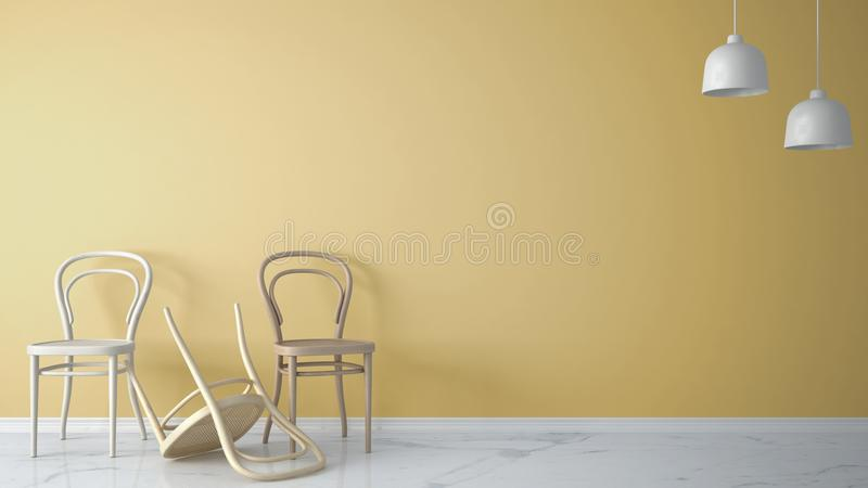 Minimalist architect designer concept with three classic wooden chairs, one chair turned over on yellow background and marble floo. R, living room interior stock illustration