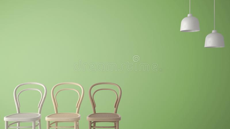 Minimalist architect designer concept with three classic wooden chairs and pendant lamps on green background, living room interior stock illustration