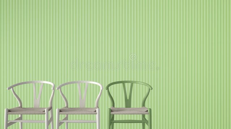 Minimalist architect designer concept with three classic wooden and pastel chairs on green striped wallpaper background, living ro. Om interior design with copy royalty free stock photos