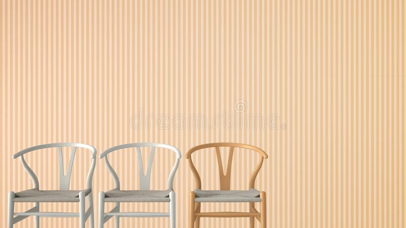 Minimalist architect designer concept with three classic wooden and pastel chairs on orange striped wallpaper background, living r. Oom interior design with copy stock photo