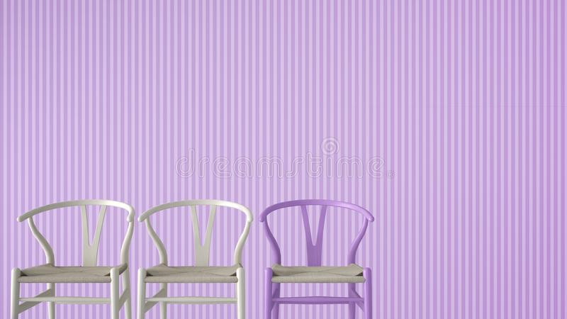 Minimalist architect designer concept with three classic wooden and pastel chairs on violet striped wallpaper background, living r. Oom interior design with copy royalty free stock photo