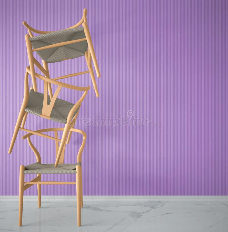 Minimalist architect designer concept with three orange classic wooden chairs hanging in the balance on violet striped wallpaper b. Ackground, living room stock images