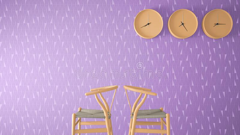Minimalist architect designer concept, waiting living room with orange classic wooden chairs and wall clocks on violet geometric w. Allpaper background, interior vector illustration
