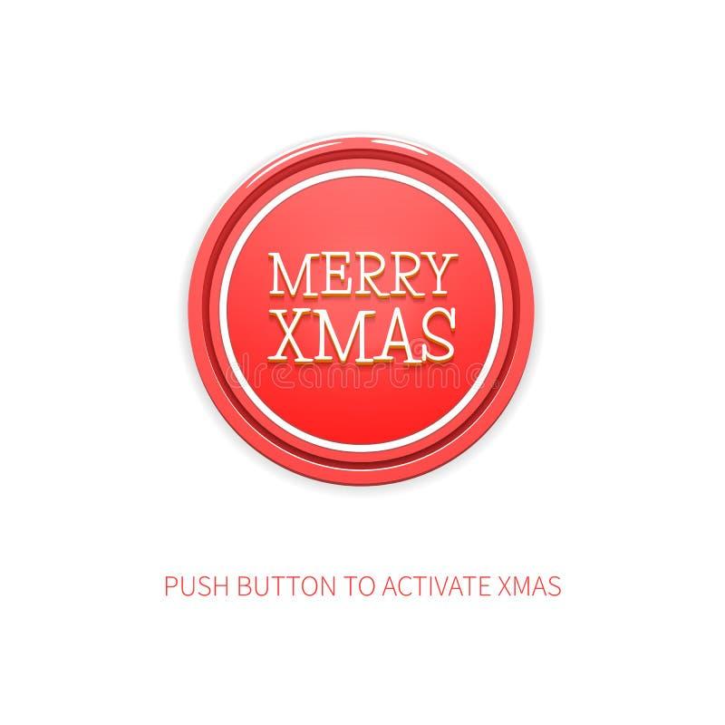 Minimalist bakgrund för gladlynt vektor för jul Vektorillustration av den röda runda knappen med glad Xmas för titel och vektor illustrationer