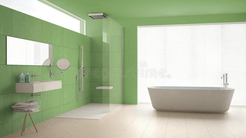 Minimalist bathroom with bathtub and shower, parquet floor and m. Arble tiles, classic white and green interior design stock images