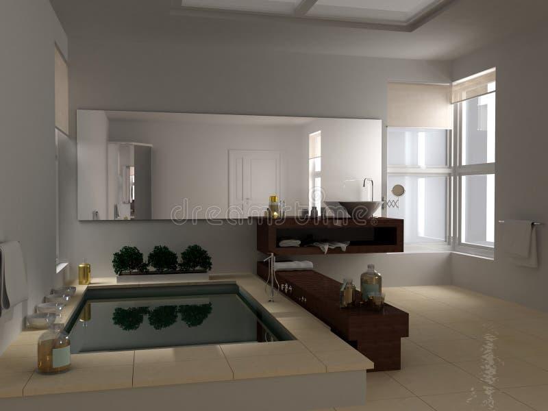 Minimalist Bathroom With Big Bathtub, Hotel Spa Interior Design ...