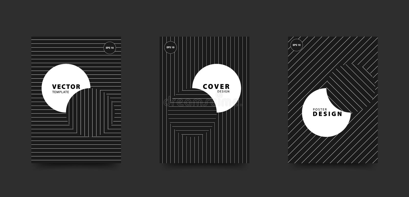 Minimalist black and white cover set. Circles and straight line pattern. Vector design template for poster, flyer, card. Brochure. Eps 10 vector illustration
