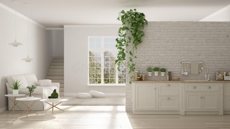 Minimalist blanco escandinavo que vive con la cocina, espacio abierto, o libre illustration