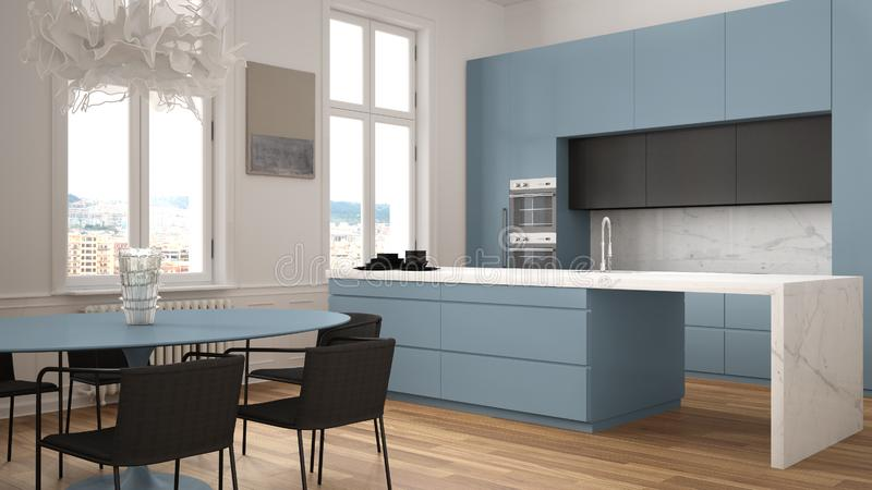 Minimalist blue and black kitchen in classic room with moldings, parquet floor, dining table with chairs, marble island and. Panoramic windows. Modern vector illustration