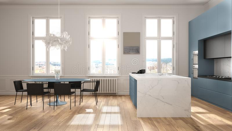 Minimalist blue and black kitchen in classic room with moldings, parquet floor, dining table with chairs, marble island and. Panoramic windows. Modern stock illustration