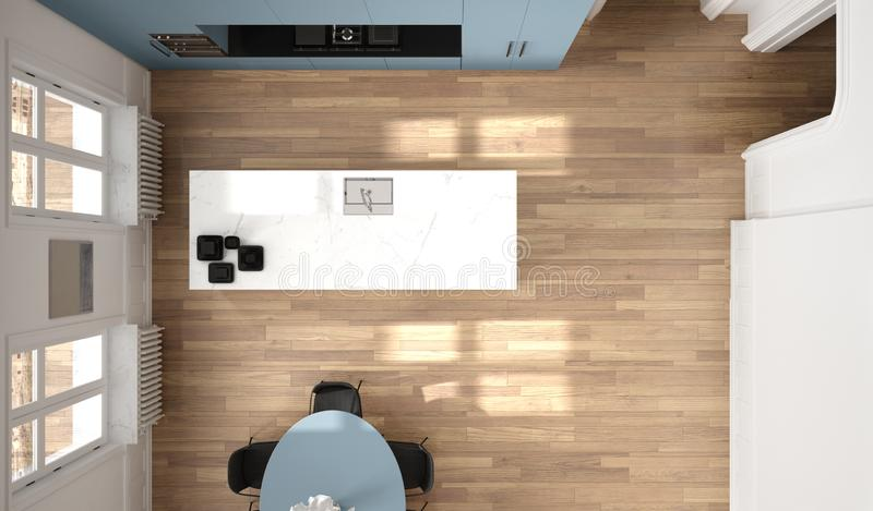 Minimalist blue and black kitchen in classic room, parquet floor, dining table, chairs, marble island and panoramic windows. Modern architecture interior royalty free illustration