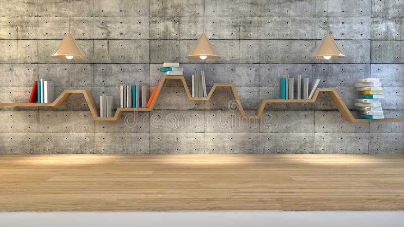 Minimalist book shelf. 3d render of minimalist shelf over dramatic concrete background, modern art minimalist gallery concept stock illustration
