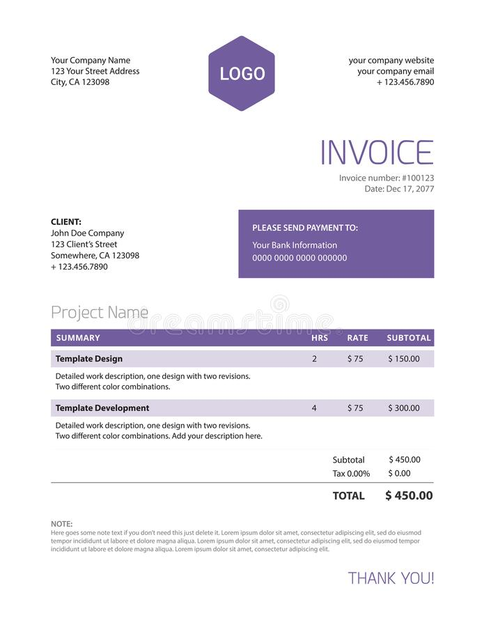 blank business invoice template