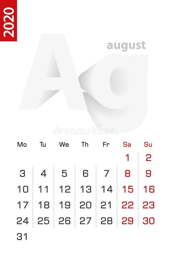 Minimalist calendar template for August 2020, vector calendar in English vector illustration