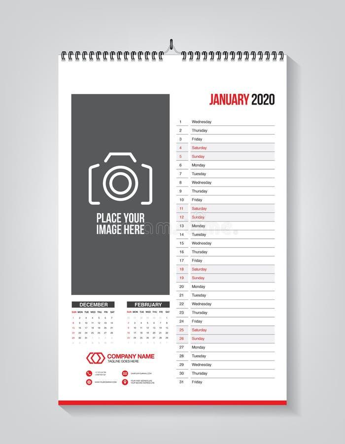 Minimalist calendar template for January 2020, vector calendar in English royalty free illustration