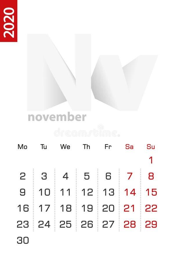 Minimalist calendar template for November 2020, vector calendar in English vector illustration