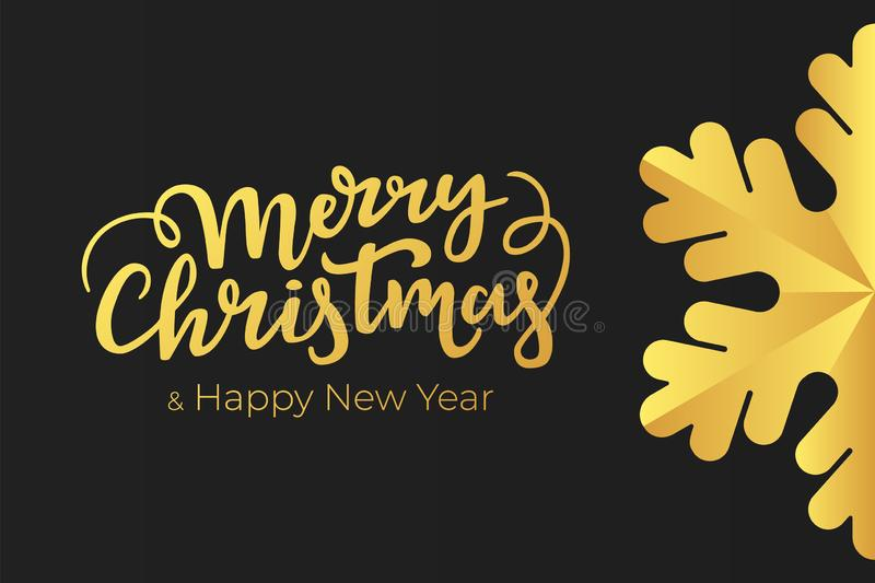 Minimalist Christmas and New Year card design with hand lettering wishes and luxury decoration of a gold foil on black premium pap royalty free illustration