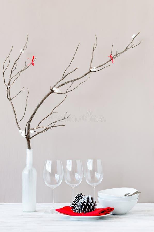 Download Minimalist Christmas Table Setting Decoration Stock Image