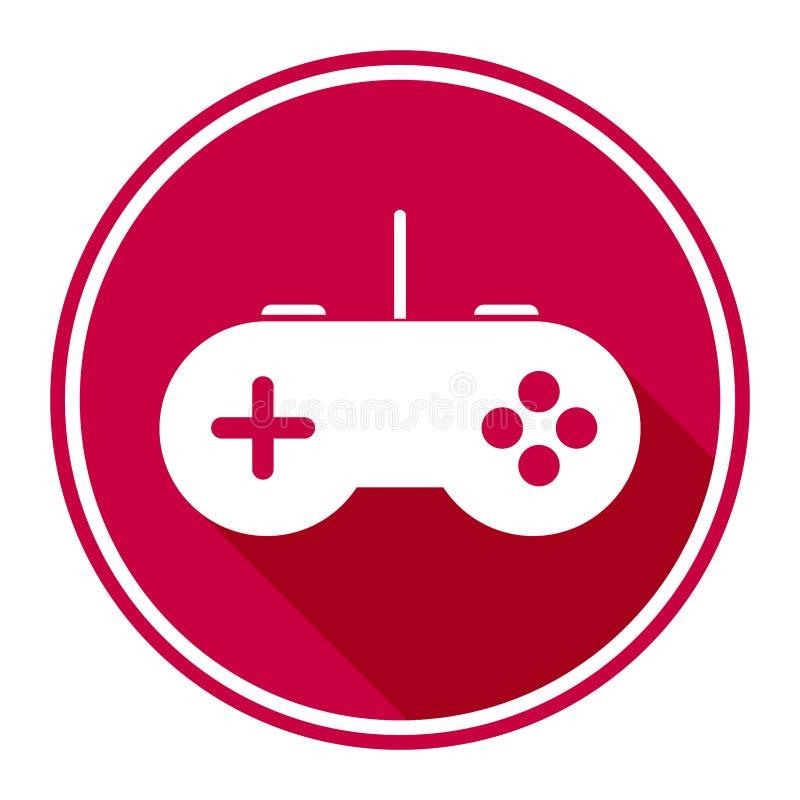 Minimalist, circular, game controller icon/logo. White on cherry red royalty free illustration