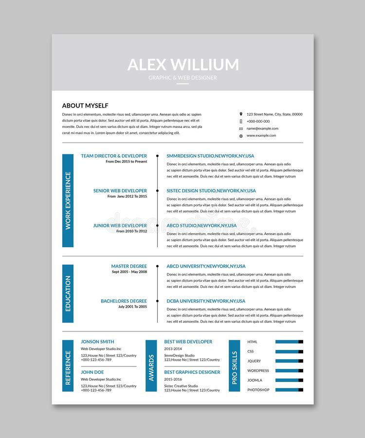 Cv Resume Template Stock Images
