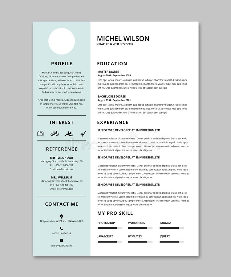 resume cv template stock images
