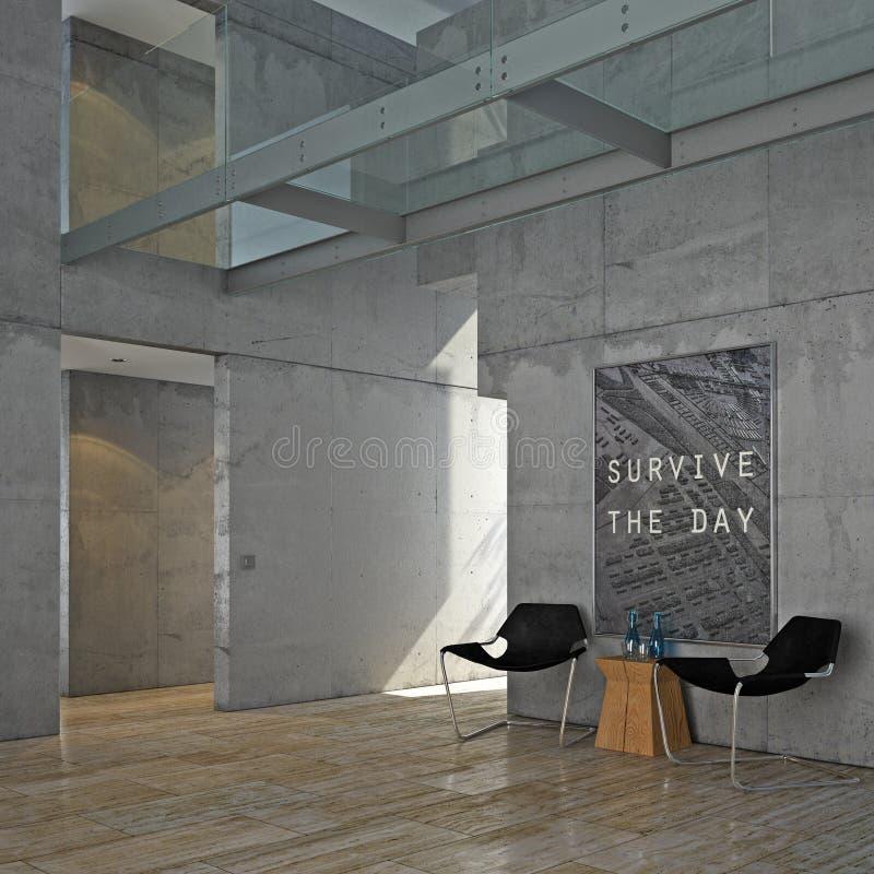Minimalist concrete interior royalty free illustration