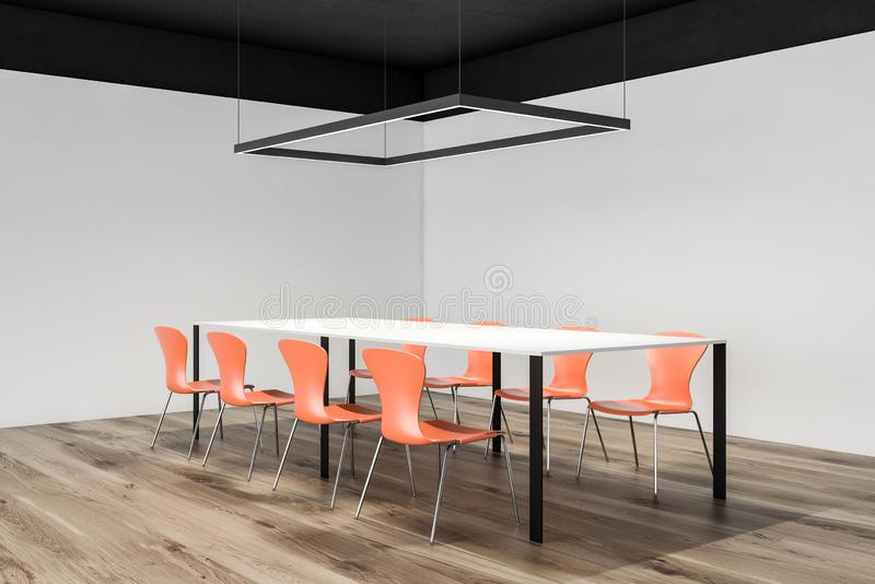 Minimalist conference room corner, orange chairs. Corner of minimalistic meeting room with white walls, black ceiling, wooden floor, white conference table with royalty free illustration