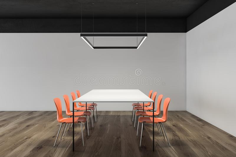 Minimalist conference room interior, orange chairs. Interior of minimalistic meeting room with white walls, black ceiling, wooden floor, white conference table royalty free illustration