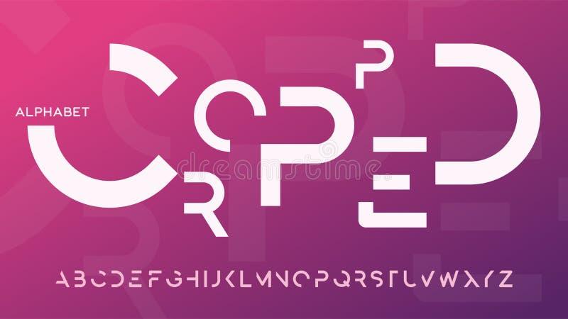 Minimalist cropped decorative typeface design stock illustration