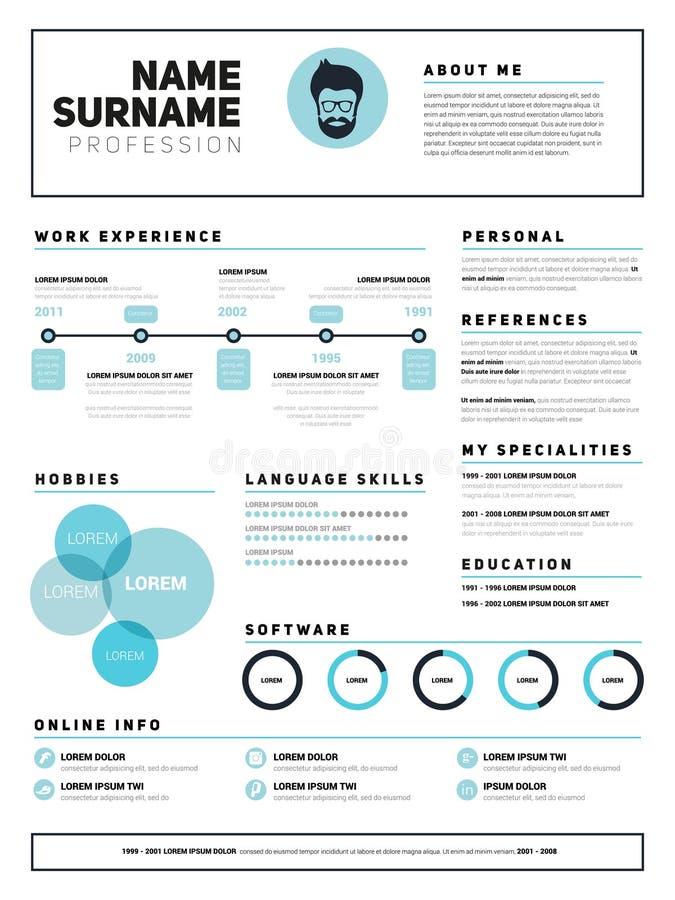 Minimalist CV, resume template stock images