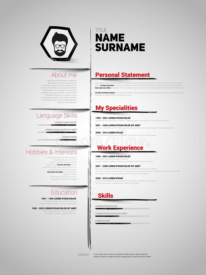 Minimalist Cv, Resume Template Stock Illustration - Image: 77157277